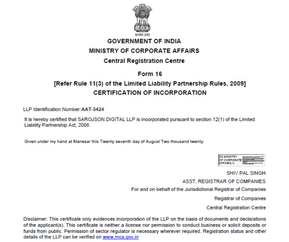 Incorporation Certificate of Sarojson Digital LLP
